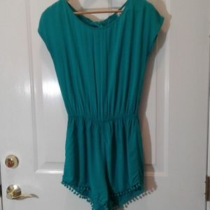 Mimi chica romper sz s ties in back teal blue
